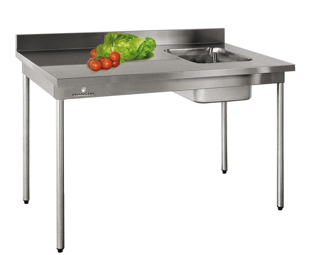 Table du chef a bords droits 1600x7001 cuve a droi for Table cuisine pro
