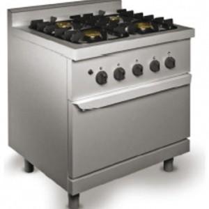 FOURNEAUX 4 FEUX VIFS SUR FOUR GAZ pour cuisine professionnelle