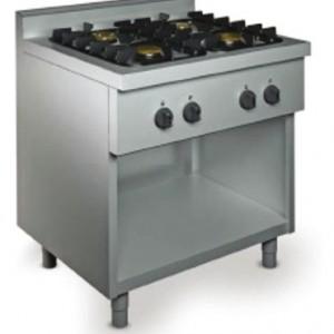 FOURNEAUX GAZ 4 FEUX VIFS SUR BAIE LIBRE pour cuisine professionnelle