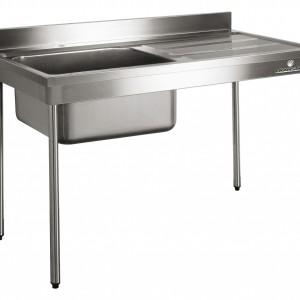 PLONGE 1800X600 - BORD DROIT -PIEDS RONDS - 2 CUVE pour cuisine professionnelle