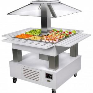 BUFFET ILOT CENTRAL FROID 4 BACS GN 1/1 MOTORISÉ pour cuisine professionnelle