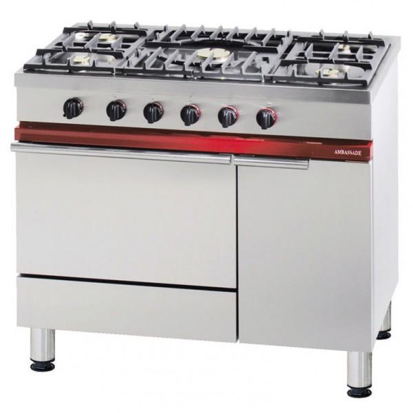 FOURNEAU 1000 5 FEUX + FOUR GAZ + ARMOIRE NEUTRE pour cuisine professionnelle