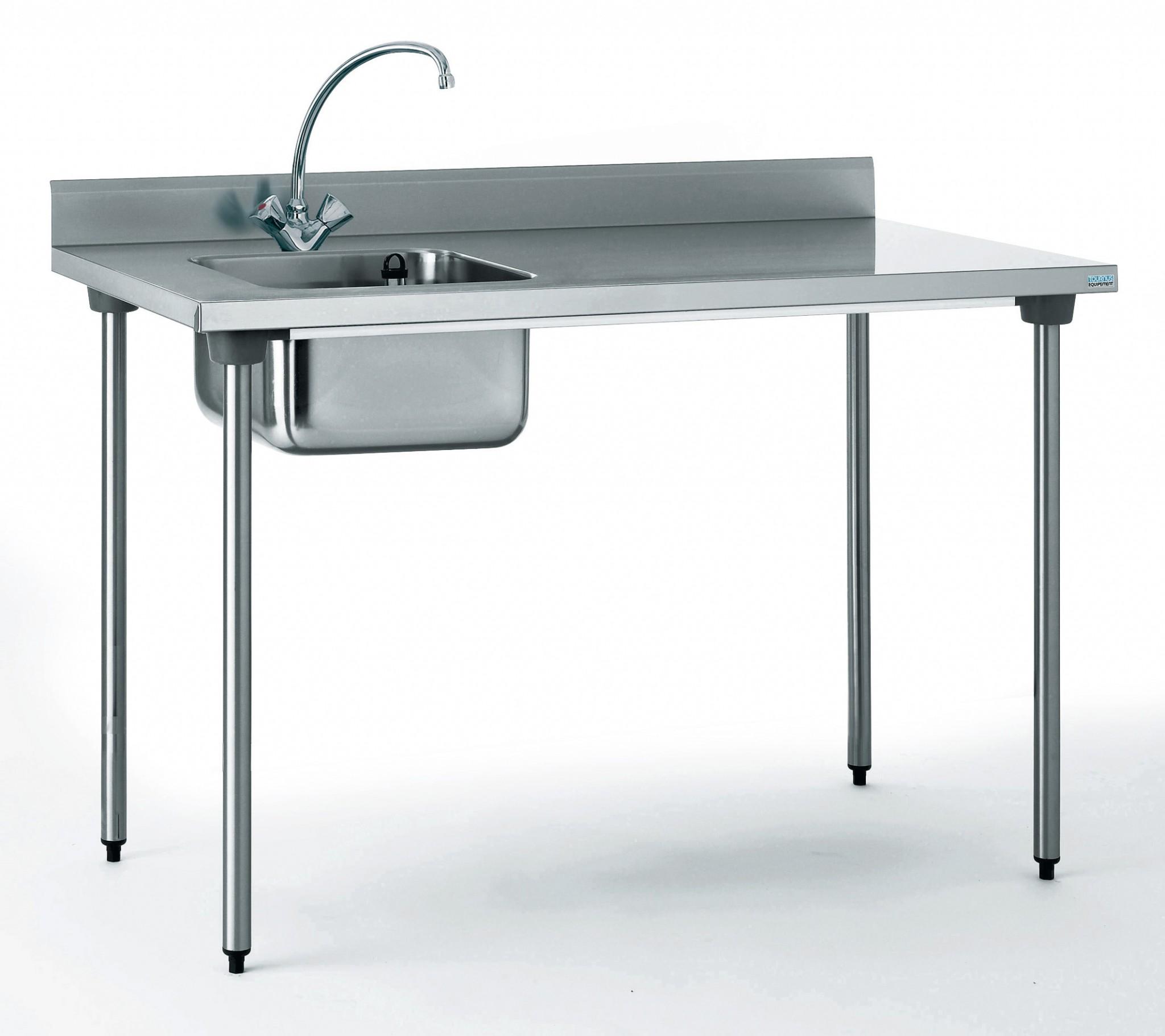 Table du chef chr 700x1200 bac a gauche avec robin for Table cuisine pro